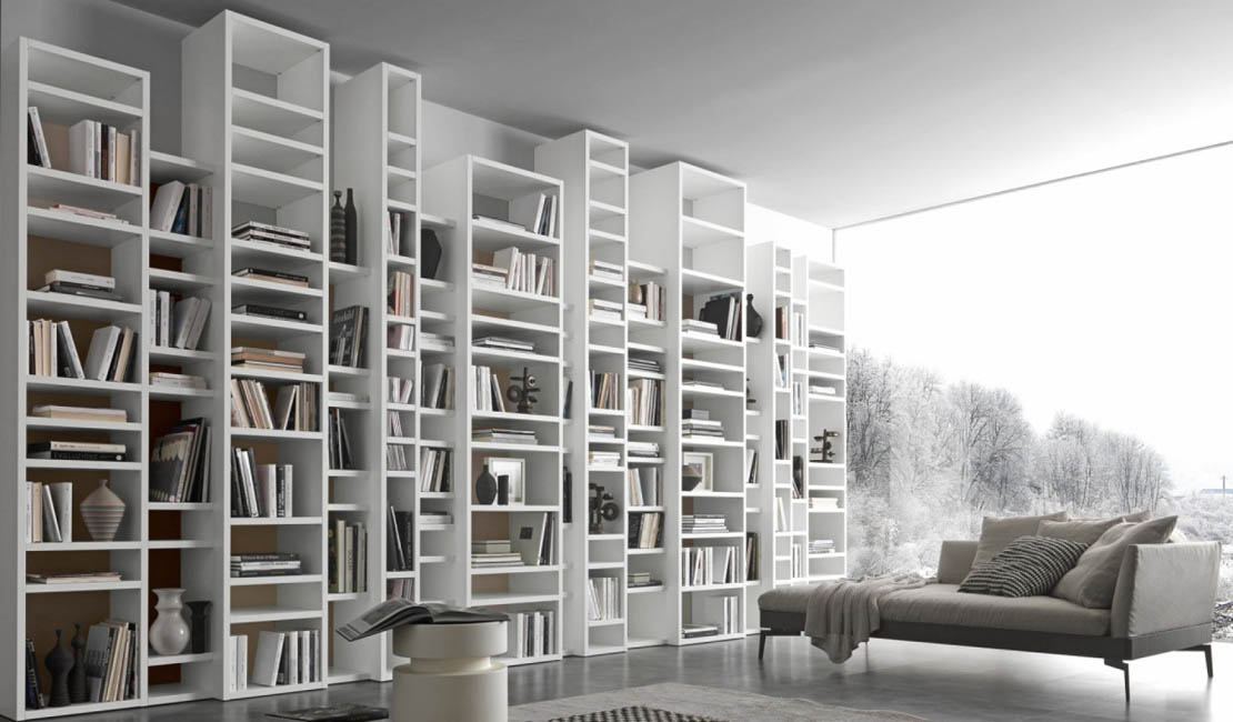 Custom Design Italian Bookcases + Wall Storage in Sydney