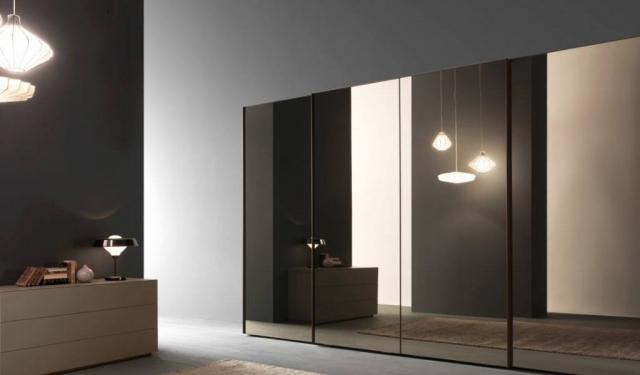 Mirror Glass Modern Wardrobe Sliding Doors
